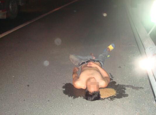上海一男子醉酒躺马路中间 抱野狗呼呼大睡图片