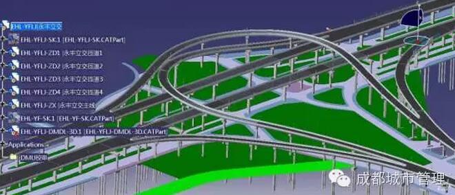 二环路高架桥永丰立交桥段bim模型