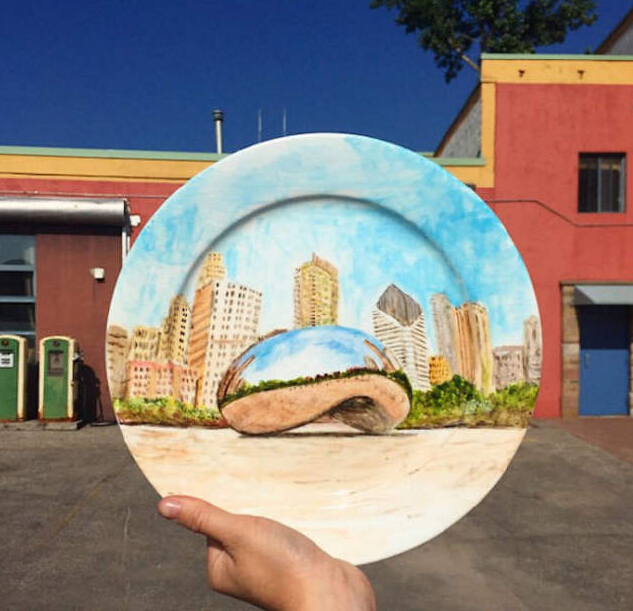 画在盘子上的美景