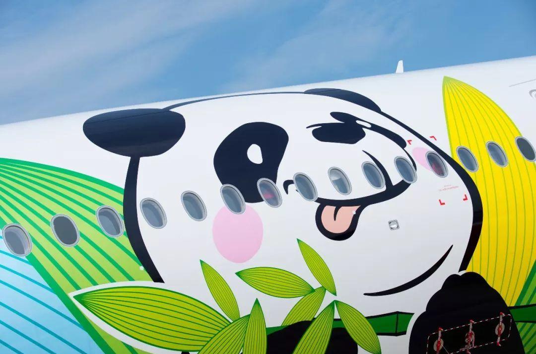"""图据网络 而且,在喷涂的卡通大熊猫之中,其中一只的原型是川航认养的大熊猫""""三优""""。与川航的二字代码""""3U""""谐音。优优被川航传媒的设计师们,作为原型放在了A350熊猫号飞机的设计上,望天、打滚、啃竹子、排排坐……萌哒哒的卡通熊猫形象,真·坐起滚滚上天了! 在接机仪式上正式亮相的川航第七代空乘制服,小哥哥小姐姐们都好好看!"""