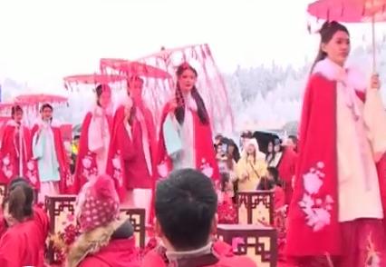 99对新人仙女山举办雪地汉式集体婚礼