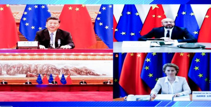 习近平会见欧洲理事会主席米歇尔和欧盟委员会主席冯德莱恩
