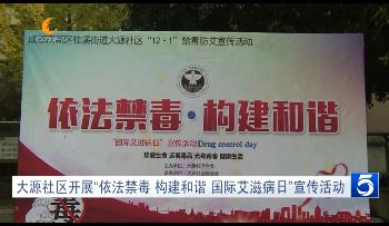 """大源社区开展""""依法禁毒 构建和谐 国际艾滋病日""""宣传活动"""